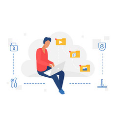 people work with cloud web storage service man vector image