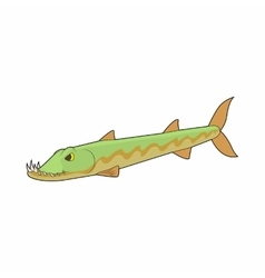 Pike fish icon in cartoon style vector