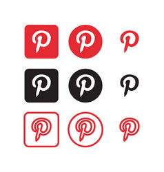 Pinterest social media icons vector