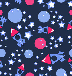 planets rockets and stars vector image
