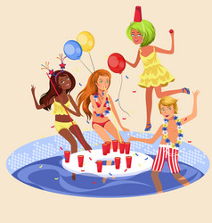 pool party colorful poster vector image