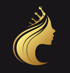 profile of a girl with a crown vector image