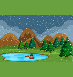 Rainy night at pond nature vector