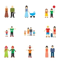 Relatives icons set flat style vector