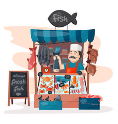 Retro fish street shop store market with freshness vector