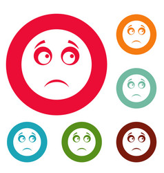 sad smile icons circle set vector image