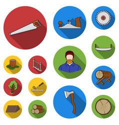 Sawmill and timber flat icons in set collection vector