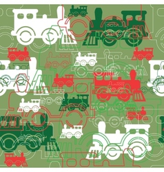 Seamless background with the steam locomotives vector