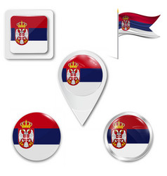 Serbia flag waving form on gray background vector