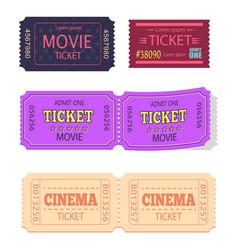 Set movie cinema tickets admit one icons vector