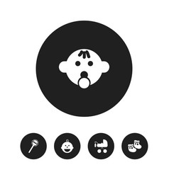 Set of 5 editable infant icons includes symbols vector