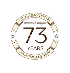 Seventy three years anniversary celebration logo vector