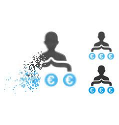Shredded pixel halftone euro capitalist icon vector