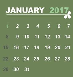Simple calendar template of january 2017 vector