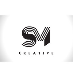 Sm logo letter with black lines design line letter vector