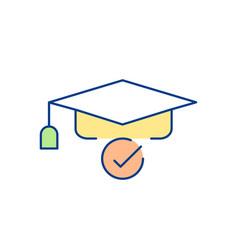 square academic cap rgb color icon vector image