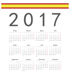Square spanish 2017 year calendar vector