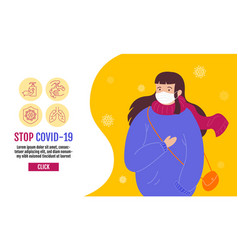 Stop covid-19 template banner people wearing vector