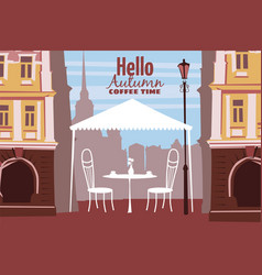 street outdoor cafe in the old town coffee table vector image