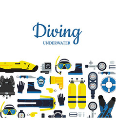 underwater diving equipment in vector image