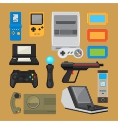 Vintage digital entertainment flat icons vector