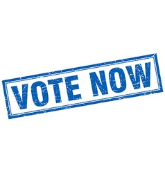 Vote now blue square grunge stamp on white vector