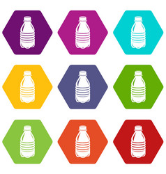 water bottle icons set 9 vector image