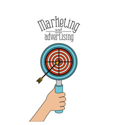 White background with loupe with target and arrow vector