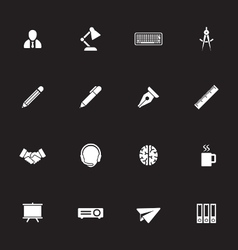 White simple flat icon set 8 vector
