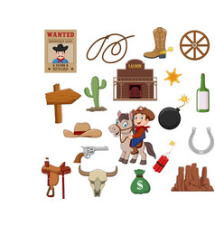 wild west western collection set vector image