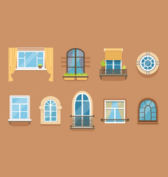windows set in different styles and forms window vector image