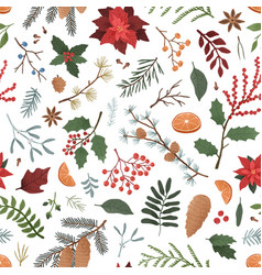 winter botanical color seamless pattern vector image