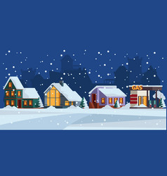 winter landscape cottage snow facade christmas vector image