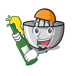 With beer juicer mascot cartoon style vector
