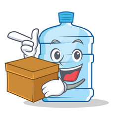 With box gallon character cartoon style vector