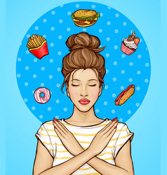 Woman refusing from fast food and sweets vector