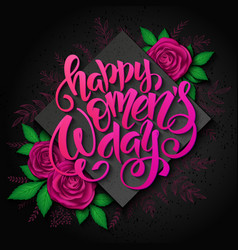 womens day card with lettering rhombus vector image