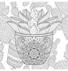 Zentangle succulent on cactus seamless pattern vector