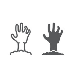 zombie hand line and glyph icon undead vector image