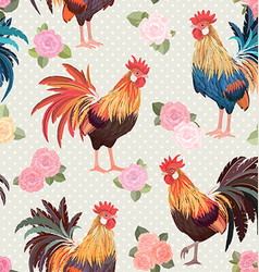 vintage seamless texture with cute roosters and vector image