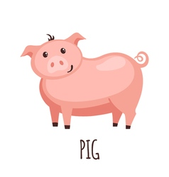 Cute pig in flat style vector image