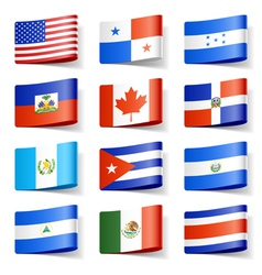 north america flags vector image