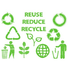 Recycle doodle icons vector image vector image