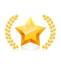 3d golden yellow star laurel wreaths branch vector image vector image