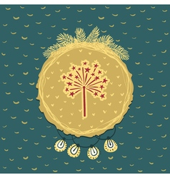 Christmas and New Year round frame with firework vector image
