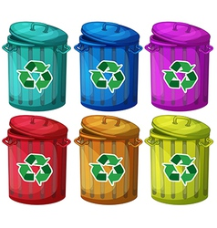 Six trashcans for recyclable garbages vector image vector image