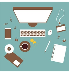 Working table top view vector image