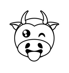 cow face animal outline vector image vector image
