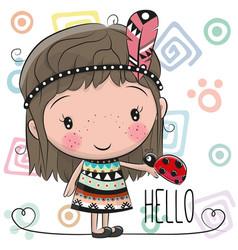 cute cartoon girl and ladybug vector image