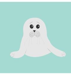 Cute seal pup baby harp Cartoon character Blue vector image vector image